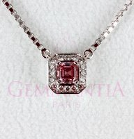 Collier diamant rose taille asscher