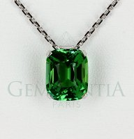 Pendentif tourmaline verte taille coussin